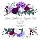Elegant seasonal dark flowers vector design wedding frame. Purple and violet rose, white and deep blue hyrangea, astilbe, anthurium, iris, eucaliptus. Floral stock illustration