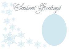 Elegant Seasons Greetings. Elegant blue Seasons Greetings in blue on white background for photo frame or greeting stock illustration