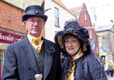 Elegant senior couple in vintage costume. Royalty Free Stock Image