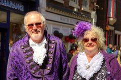 Elegant senior couple in vintage costume. Stock Images