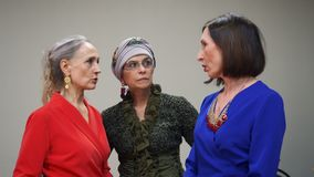 Elegant senior woman talking on alumni meeting. Three mature woman communicating while friend meet. Female friendship stock video