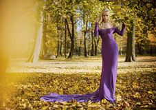 Elegant, sensual woman walking in the autumnal forest royalty free stock image