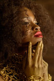 Elegant serious African or black American woman wearing gold makeup and accessories posing touching her chin with hands, side view Stock Photography
