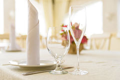 Elegant served table indoors Royalty Free Stock Photos