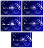 Elegant set of Christmas greeting card in blue Royalty Free Stock Images