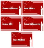 Elegant set of Christmas greeting card in red Stock Photo