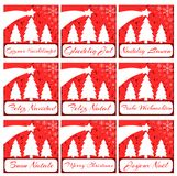 Elegant set of Christmas greeting card in red Royalty Free Stock Photo