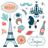 Elegant set with Eiffel tower flowers birds Royalty Free Stock Photo