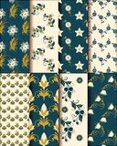 Elegant set of flower patterns royalty free illustration