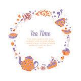 Elegant set of hand drawn tea and cakes circle wreath for busine Stock Image