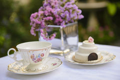 Elegant setting for afternoon tea stock photo