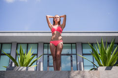 Elegant sexy woman in bikini on sun-tanned slim and shapely body posing near swimming pool. Gorgeous young woman posing Royalty Free Stock Photography