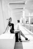 Elegant Woman Posing. In Black Dress at Malaga Harbour royalty free stock image