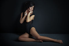 Elegant sexy woman posing in lingerie. Royalty Free Stock Photo