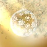 Elegant shiny christmas ball with ribbon. Royalty Free Stock Photo