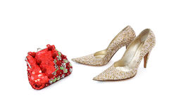Elegant shiny shoes and purse Royalty Free Stock Images