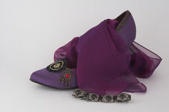 Elegant shoe, scarf and bracelet. Elegant purple shoe with chiffon scarf and black marcesite bracelet Stock Photos