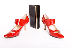 Elegant Shoes on a high heel and varnished lea Stock Photography