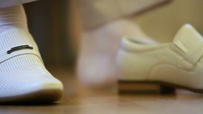 Elegant Shoes. Man putting on his leather shoes. Close-up stock video