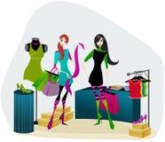 Elegant shopping girls. Vector Elegant shopping girls illustration Stock Photography