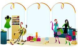 Elegant shopping girls. Vector Elegant shopping girls illustration Stock Image
