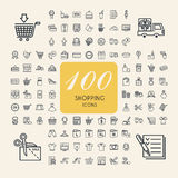 Elegant 100 shopping icons set Stock Photography