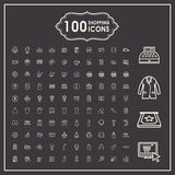 Elegant 100 shopping icons set Stock Images