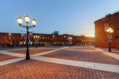 Elegant shopping Mall in Lodz on the sunset, Poland, Europe. Shopping Mall in Lodz transformed from industrial buildings into place for shopping on the sunset Stock Photos