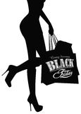 Elegant shopping woman Black Friday advertising Royalty Free Stock Photo