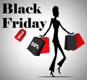 Elegant shopping woman black friday advertising background template Royalty Free Stock Photos