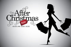 Elegant shopping woman after Christmas advertising Stock Images