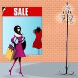 Elegant shopping woman illustration Royalty Free Stock Photography
