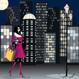Elegant shopping woman illustration Royalty Free Stock Images