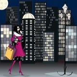 Elegant shopping woman illustration Royalty Free Stock Images