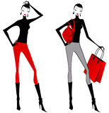 Elegant shopping women Royalty Free Stock Images
