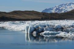 Elegant shot of sediment on a glacier in Iceland. At Jokulsarlon Stock Photos