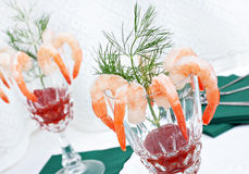 Elegant shrimp cocktail in crystal glasses Royalty Free Stock Photos