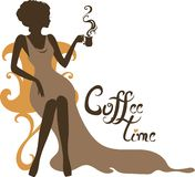Elegant silhouette of beautiful woman with a cup of coffee royalty free stock photos