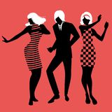 Elegant silhouettes of people wearing clothes of the sixties dancing 60s style. On red background vector illustration