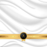 Elegant silk texture with gold ribbon and VIP tag. Royalty Free Stock Images