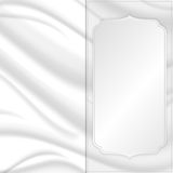 Elegant silk texture with silver square tag. Royalty Free Stock Photos