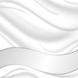 Elegant silk texture with wavy silver ribbon. Royalty Free Stock Image