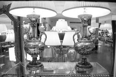 Elegant silver lamps in black and white Stock Image