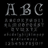Elegant Silver Platinum Font, Alphabet, ABC and numbers Royalty Free Stock Image