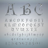 Elegant Silver Platinum Font, Alphabet, ABC and numbers Stock Photo
