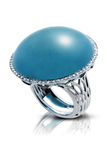 Elegant silver ring with a blue precious stone Stock Image