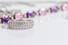Elegant silver ring with diamonds Royalty Free Stock Photo