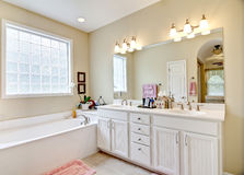 Elegant simple bathroom. In white and beige Royalty Free Stock Photo