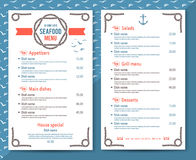 Elegant and simple seafood restaurant or cafe menu Royalty Free Stock Images