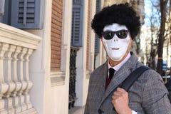 Elegant skeleton with sunglasses on royalty free stock photos